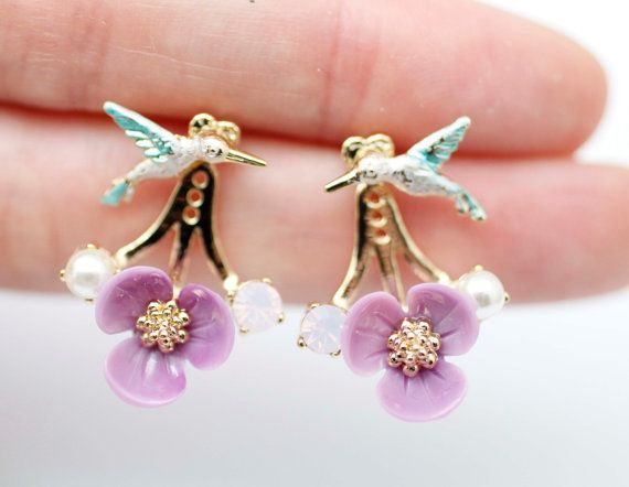 Humming Bird and Flower Ear jacket bird ear cuff  by productsoul