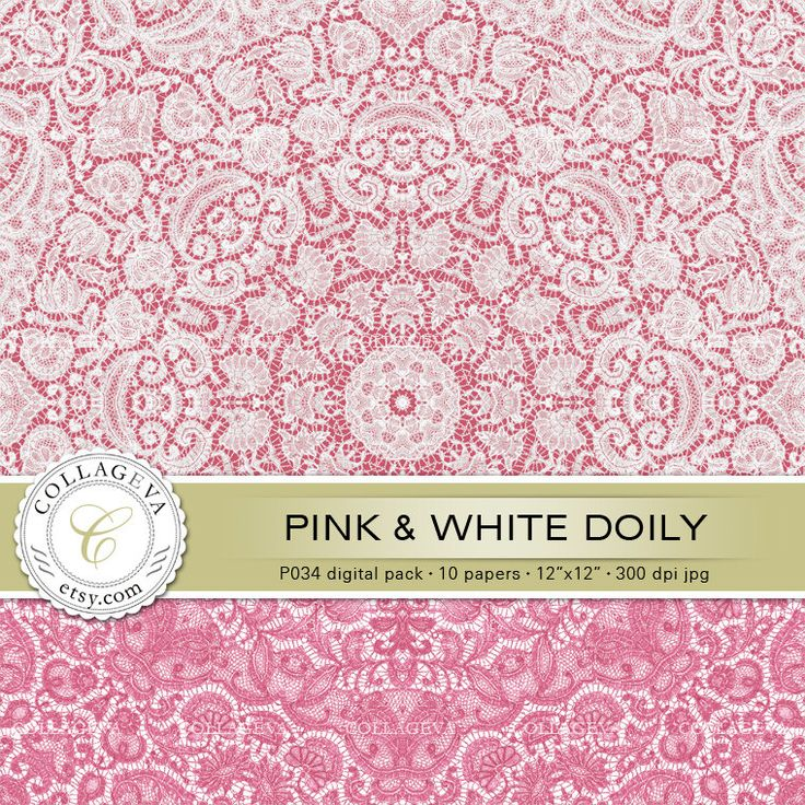 """Pink & White Doily (P033) Digital Pack 10 Printable Paper 12x12"""" Lace, light sky pastel baby blue, Nursery wall art, Scrapbooking by collageva on Etsy"""