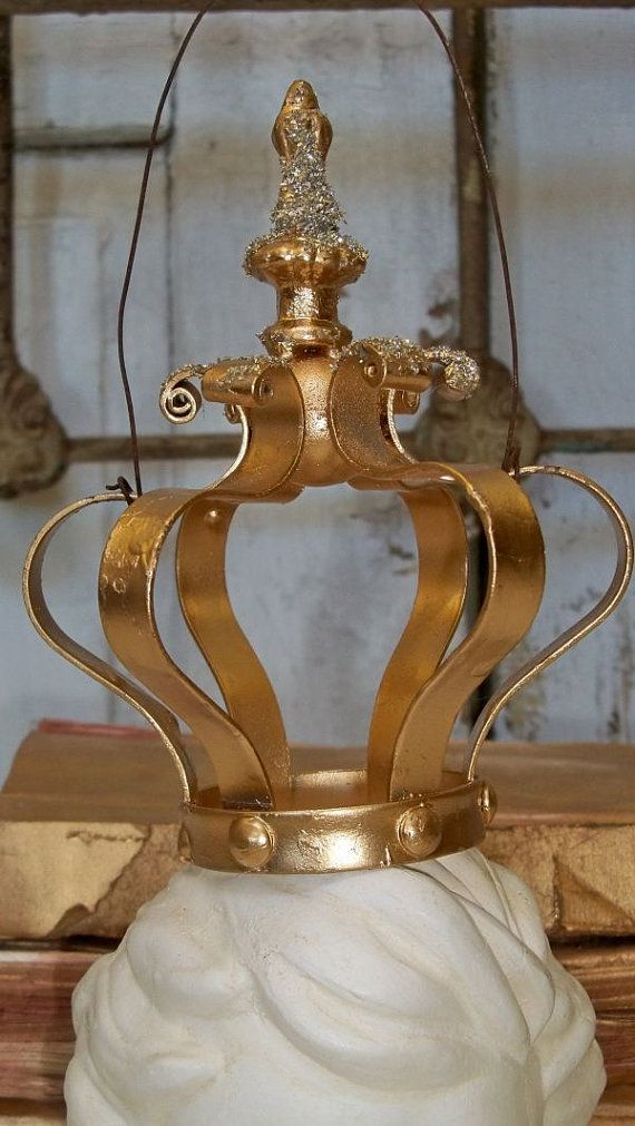 Crown ornament or shelf stuffer bright gold by AnitaSperoDesign, $65.00