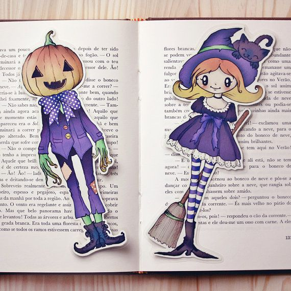 Witch & Jack P. set of bookmarks by ribonitachocolat on Etsy