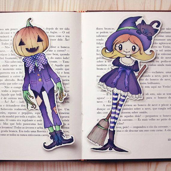 Witch & Jack P. set of bookmarks by ribonitachocolat on Etsy