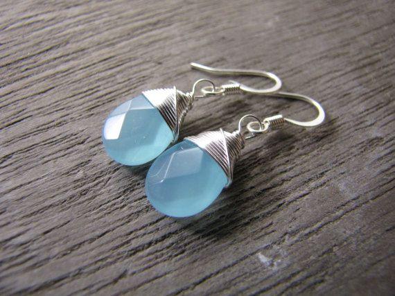 blauwe Chalcedoon gekleurde draad van sweetstonesjewelry op Etsy