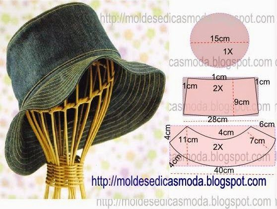 Hat Pattern, would be great for sunny days and working in the garden, written in Portuguese, could put directions through Google Translate - (CHAPÉU-4 ~ Moldes Moda por Medida)
