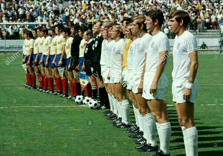 England 1 Romania 0 in 1970 in Guadalajara. The teams line up before their group match at the World Cup Finals.