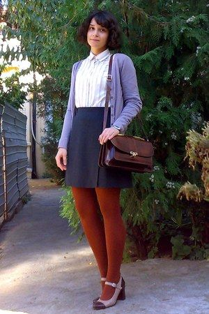 beige thrifted shirt - light brown leather shoes - burnt orange tights