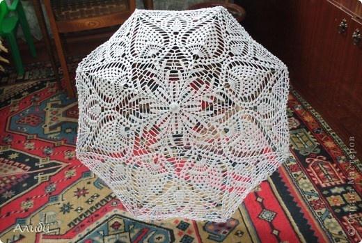 Украшение Вязание крючком: Свадебный зонтик Нитки Свадьба. Фото 1