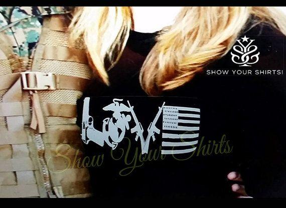 USMC Love Line EGA Pride  Marine Love  Second by ShowYourShirts