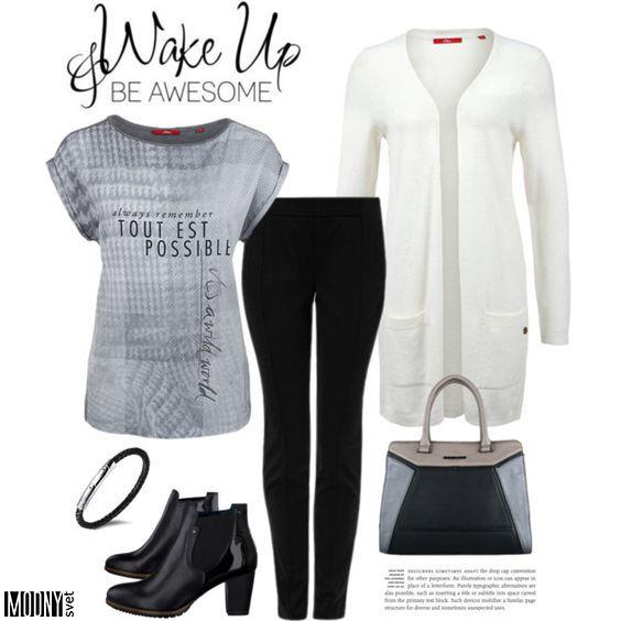 dámsky-biely-kardigán-čierne-úzke-nohavice-sivé-tričko-potlač-kabelka-kotníkové-čižmy
