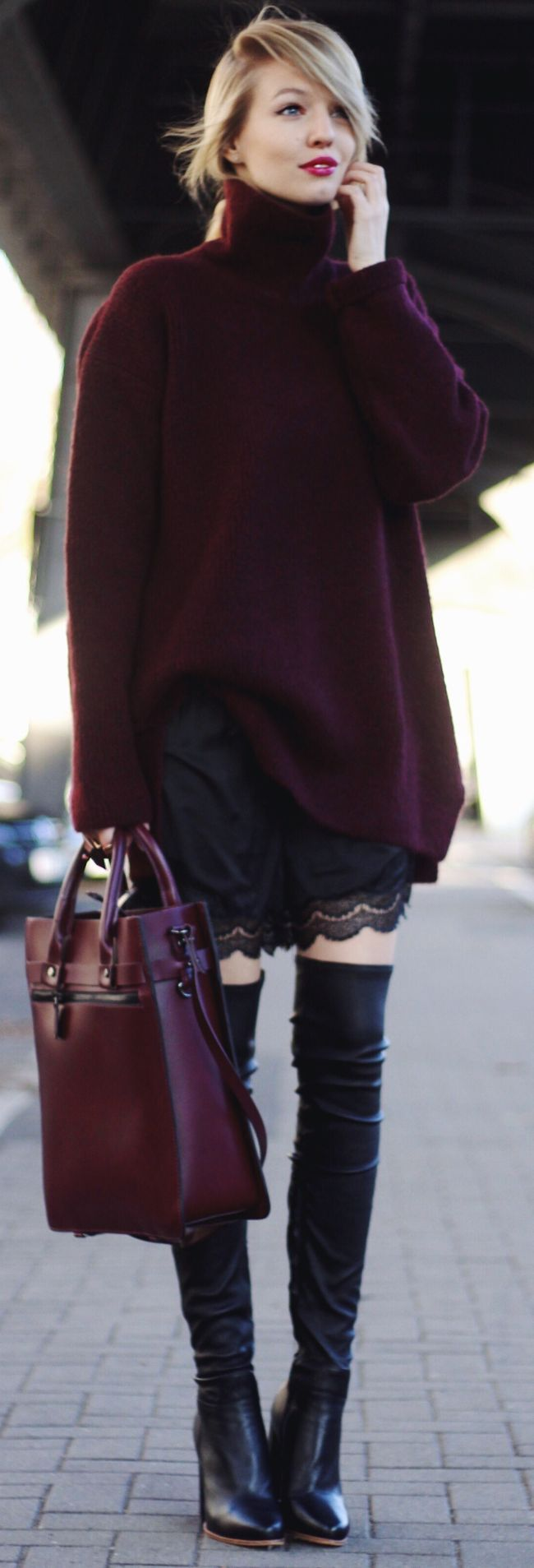 Oversized Bordeaux Sweater & bag. women fashion outfit clothing style apparel @roressclothes closet ideas