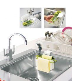 Органайзер для раковины АРТИКУЛ: TK 0193 Органайзер для раковины – удобное и вместительное приспособление для хранения различных принадлежностей для мытья посуды и столешниц. Он плотно крепится на стенку раковины при помощи сильных присосок, таким образом, все необходимое для мытья посуды оказывается в одном удобном месте. Благодаря особой конструкции дна органайзера излишки воды или мыла не задерживаются в резервуаре, а стекают прямо в раковину. Кроме того, органайзер для раковины легко…