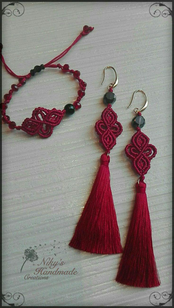 Makrame earrings and bracelet