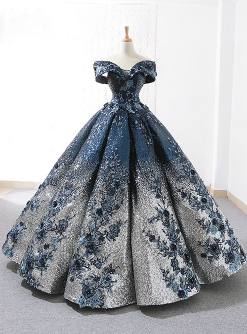... gown Hemline floor length Neckline off the shoulder Fabric sequins  Shown Color blue Sleeve Style sleeveless Back Style lace up Embellishment  appliques 3ff84c5dcbc3