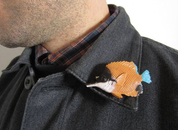 Tropical Fish Brooch OOAK by GingerLab on Etsy, €8.50