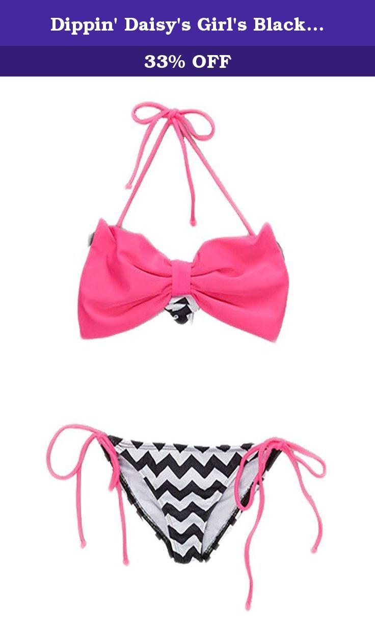 Dippin' Daisy's Girl's Black Chevron Bow Bandeau Bikini Size 8. Girl's bandeau bow top with straps.