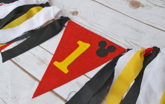 Mickey Mouse 1st birthday Banner  boy 1st birthday by BannersAway