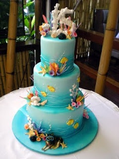 Aqua Seashell With Green Seaweed Wedding Cakes