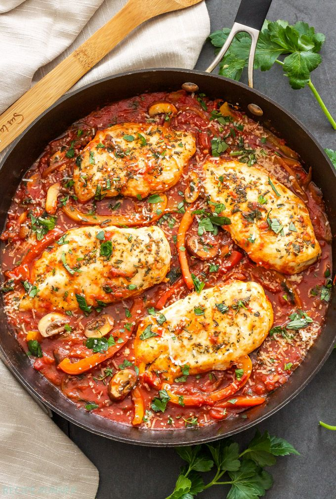 Easy Skillet Chicken Cacciatore Recipe In 2019 Chicken Cacciatore Cacciatore Recipes