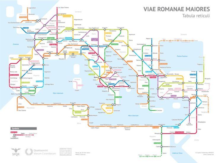 A Chicagói Egyetem statisztika szakos hallgatója alkotta meg azt a (túlzás nélkül szenzációs) térképet, amely az ókori Róma útjait városi metrótérképként ábrázolja.