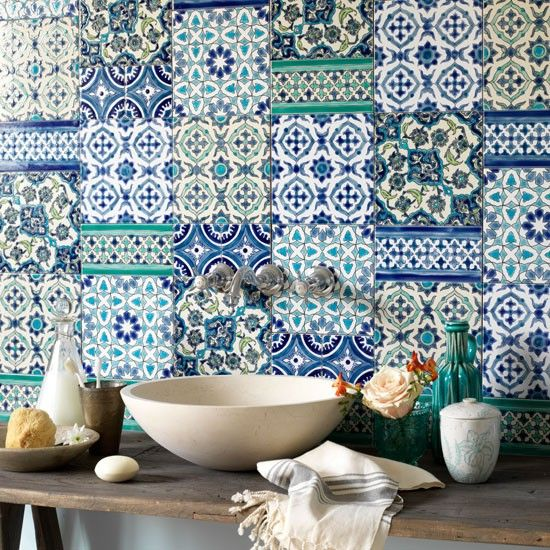 #boho Tiled splashback | Country bathroom ideas | Bathroom | PHOTO GALLERY | Country Homes and Interiors | Housetohome.co.uk