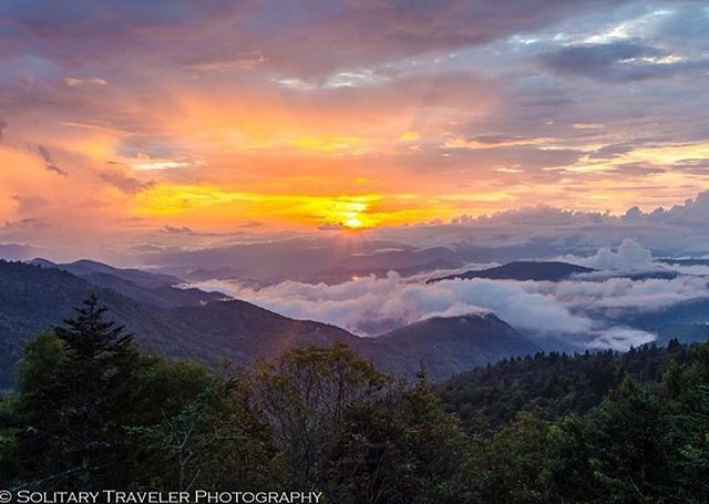 Spectacular sunset views happen at Waterrock Knob, Blue Ridge Parkway mile marker 451.2. This section of the Parkway is closed at the moment due to winter road conditions however the Parkway has a real time road closure map (just google it) for most updat