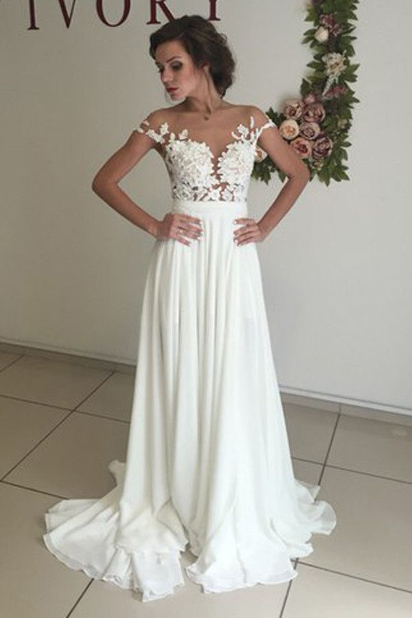 V-neck Cap Sleeves Sweep Train White Wedding Dress with Appliques WD002