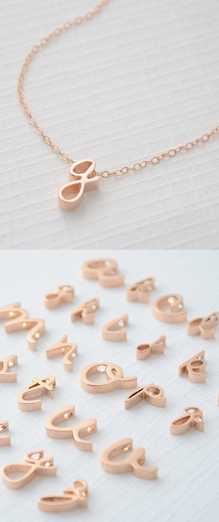 Lower Case Initial Necklace in Rose Gold by Olive Yew.