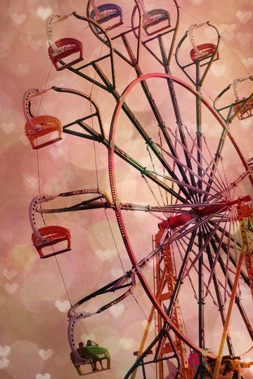 Carnival Photography, ferris wheel, pink, peach, heart shaped bokeh lights, nursery room decor, romantic, couple in love, hearts, 8x12 Prin. $33.00, via Etsy.