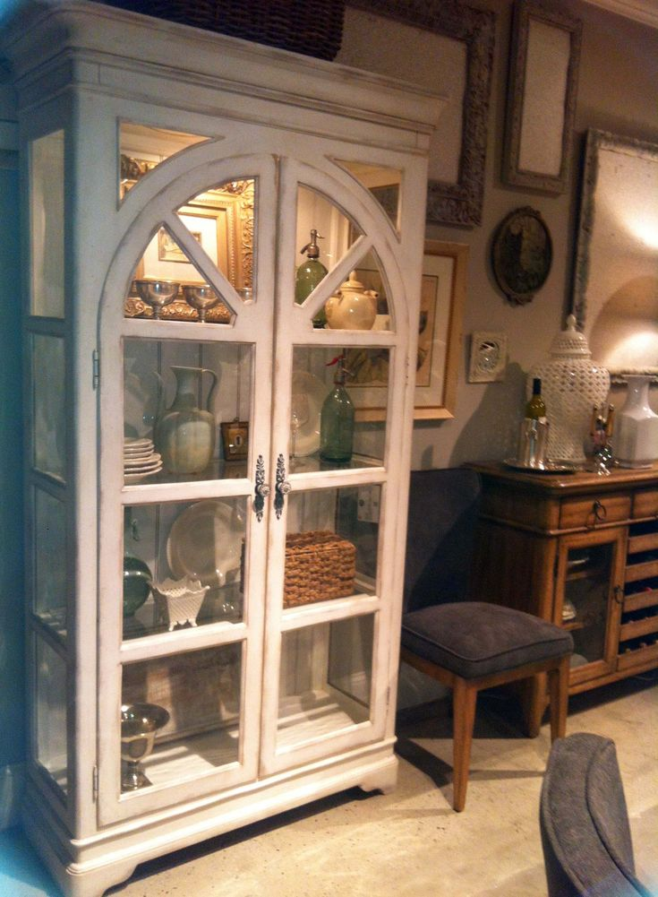 Chic curio cabinet- it was inspired by studying Pinterest boards & seeing what women really like- imagine that!