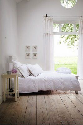 warm wood floorboards My bedroom needs the warmth of wood, whites, colour pops, glitter, magic Drape sheer curtains over windows and hang fairy lights behind of lanterns in front