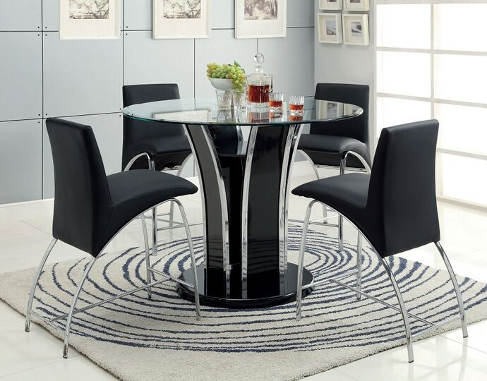 5 Pc Glenview II Collection Contemporary Style Black Finish Wood Chrome Trim Base With Round Beveled Glass Top Counter Height Dining Table Set