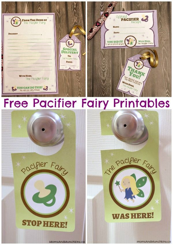 Pacifier Fairy Printables (Free) http://www.momsandmunchkins.ca/2014/08/01/pacifier-fairy-printables/ #PacifierFairy