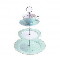 Miss Darcy 3 Tier Cake Stand Teacup and Saucer Mint and Gold Spot - Bombay Duck