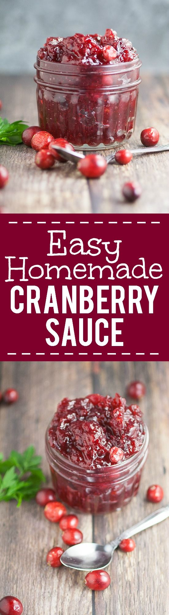 Easy Homemade Cranberry Sauce recipe with apple juice and a hint of maple -A simple, sweet and tangy version of a classic, this 4 ingredientEasy Homemade Cranberry Sauce recipe promises to be a pretty and delicious addition to your Thanksgiving feast!