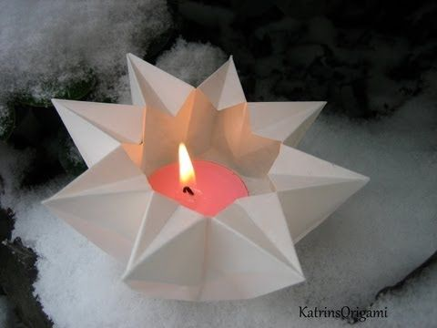 Origami lotus. Candle -Table decoration. 20 petal origami lotus with stamen. Ideas for Easter - YouTube