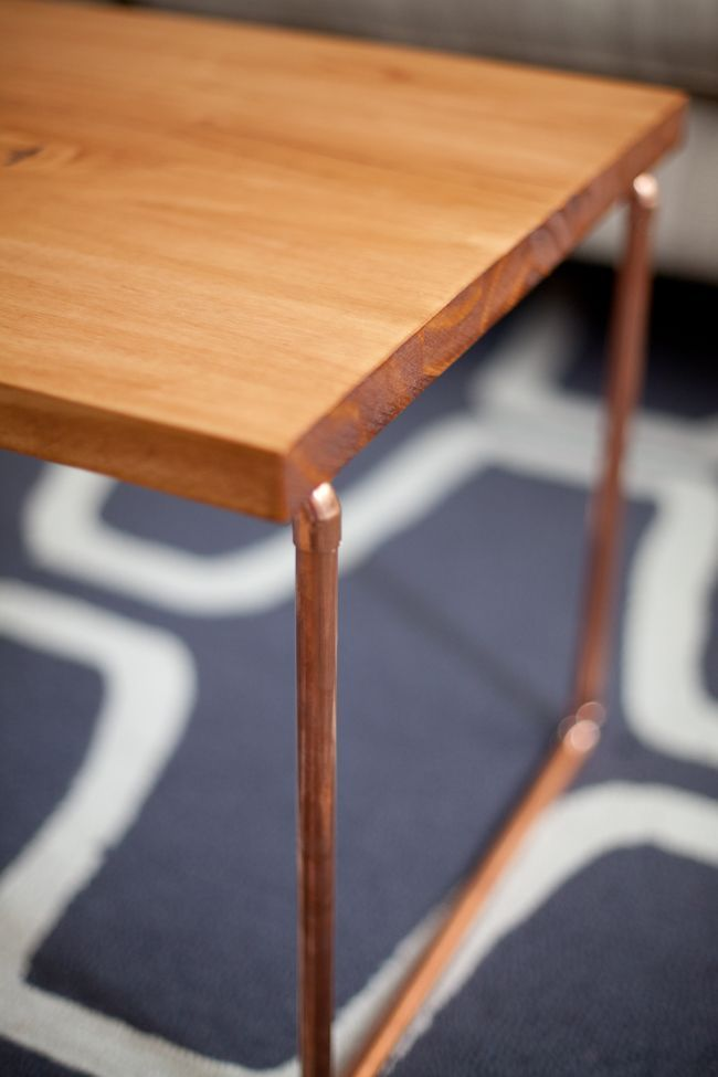 DIY copper + wood coffee table