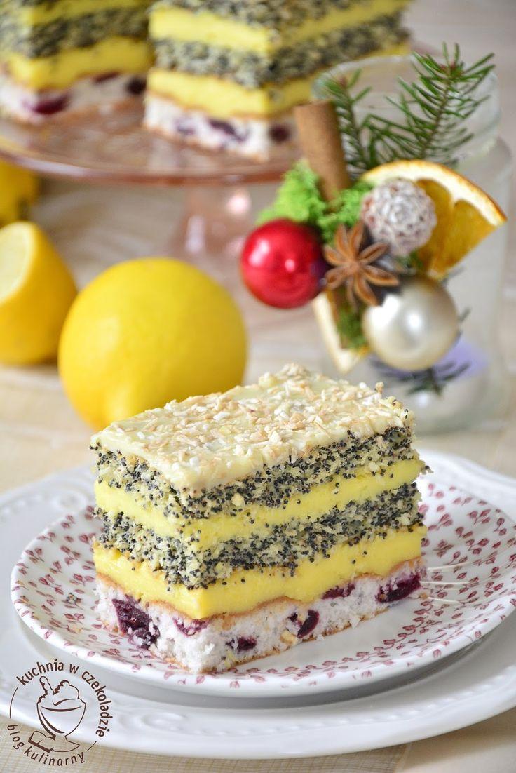 Ciasto makowa panienka, z wiśniami, panienka makowo-wiśniowa, świąteczne wypieki, z kremem cytrynowo- pomarańczowym