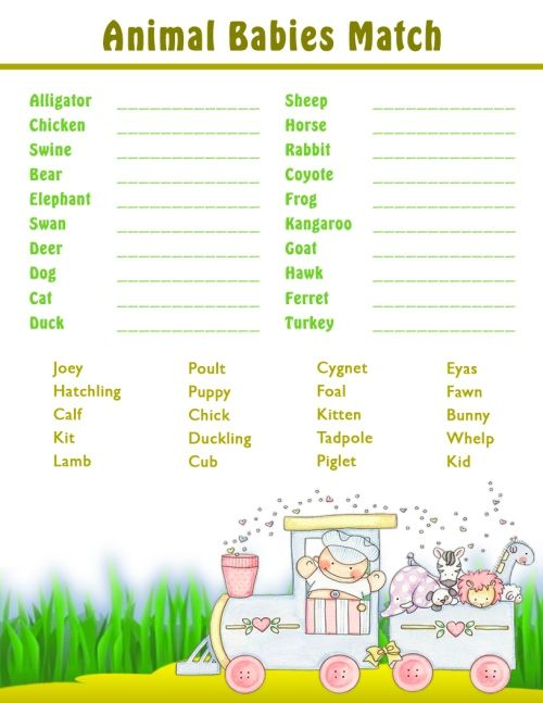 Printable Shower Games - Baby Animal Matching Game | All ...