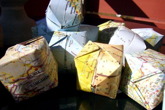 origami, jordglober som kuber