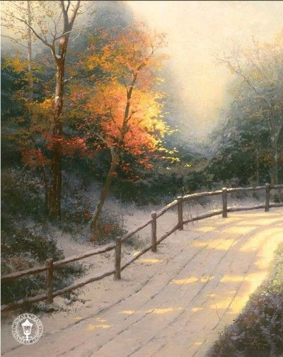 Thomas Kinkade - First Snow..a walk in the first snow fall of the season down the lane....