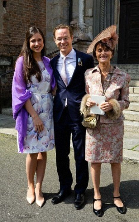 Prince Jaime, Princess Viktoria of Bourbon-Parma (L) and Princess Maria Teresa of Bourbon-Parma attend the christening of Dutch Princess Cecilia of Bourbon-Parma in the Cathredral of Piacenza, April 5, 2014