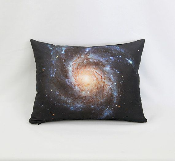 Pinwheel Galaxy Pillow Cover: photo by NASA's Hubble Space Telescope / White, Brown, Peach, Black
