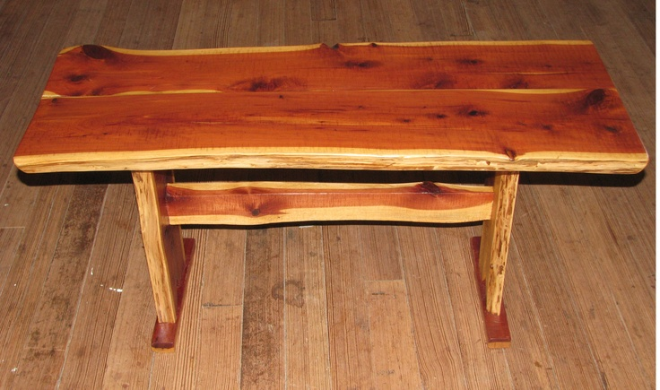 Handmade homemade cedar coffee table lumber cut on our eco friendly sawmill at the ranch Eco friendly coffee table