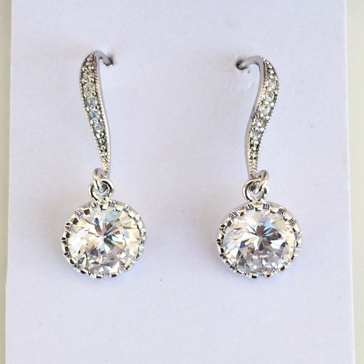 Round cubic zirconia bridal earrings by Colour and Sparkle. Bridal jewellery, bridal accessories, wedding jewellery