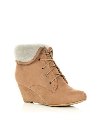wide fit faux shearing lined wedge boots at new look