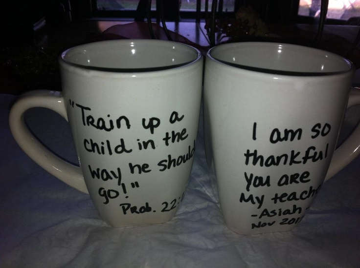 Dollar tree mugs. Write and bake at 400 for 15 min. This were thanksgiving teacher gifts.
