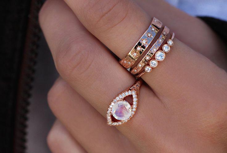 14kt gold and diamond moonstone vintage eye ring – Luna Skye