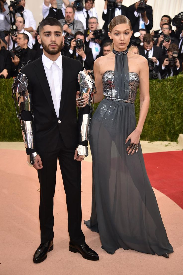 Zayn Malik and Gigi Hadid both in Versace at the 'Manus x Machina: Fashion In An Age Of Technology' Costume Institute Gala at the Metropolitan Museum of Art on May 2, 2016 in New York City.