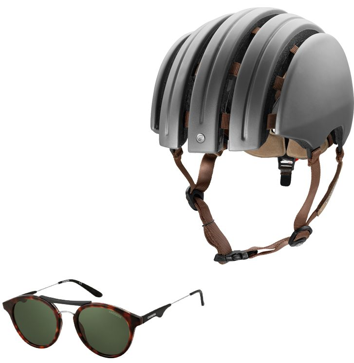 Carrera Premium Foldable helmet grey matte, paired with Carrera 6008 havana black sunglasses.