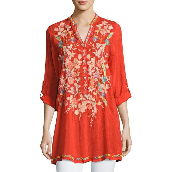 Johnny Was Nikky Embroidered Georgette Long Tunic ($245) ❤ liked on Polyvore featuring tops, tunics, electric coral, georgette tunic, red top, georgette tops, johnny was tops and johnny was