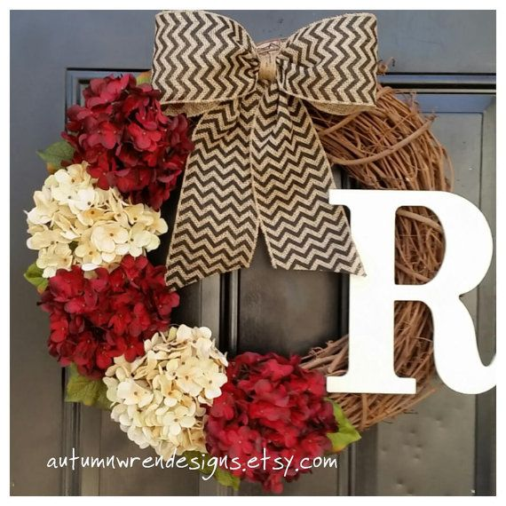 spring wreath, cranberry red and cream hydrangea wreath with black chevron bow, housewarming, wedding, gift, mothers day, door wreath